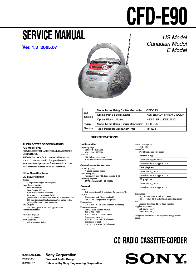SONY CFD-E90 VER-1.3 SM service manual