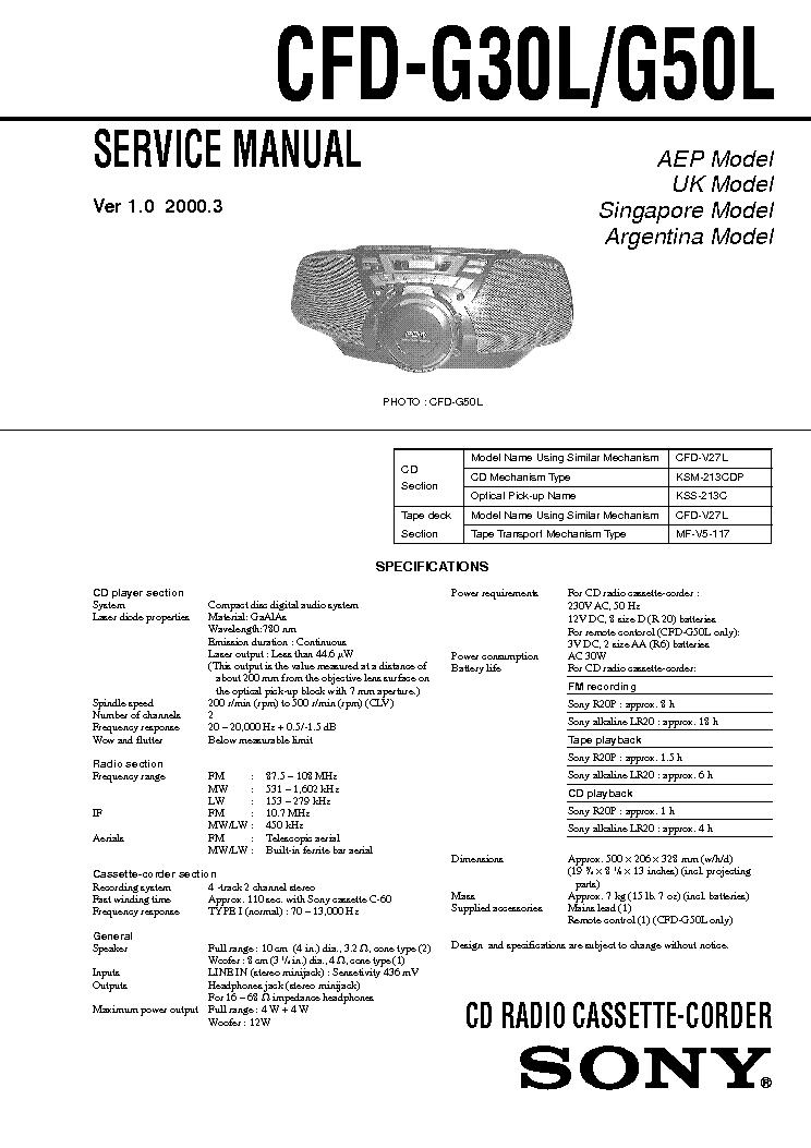 Sony Cfd G30l G50l Ver 1 0 2000 03 Sm Service Manual