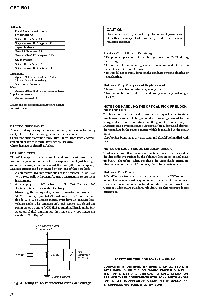 SONY CFD-S01 VER-1 0 SM Service Manual download, schematics