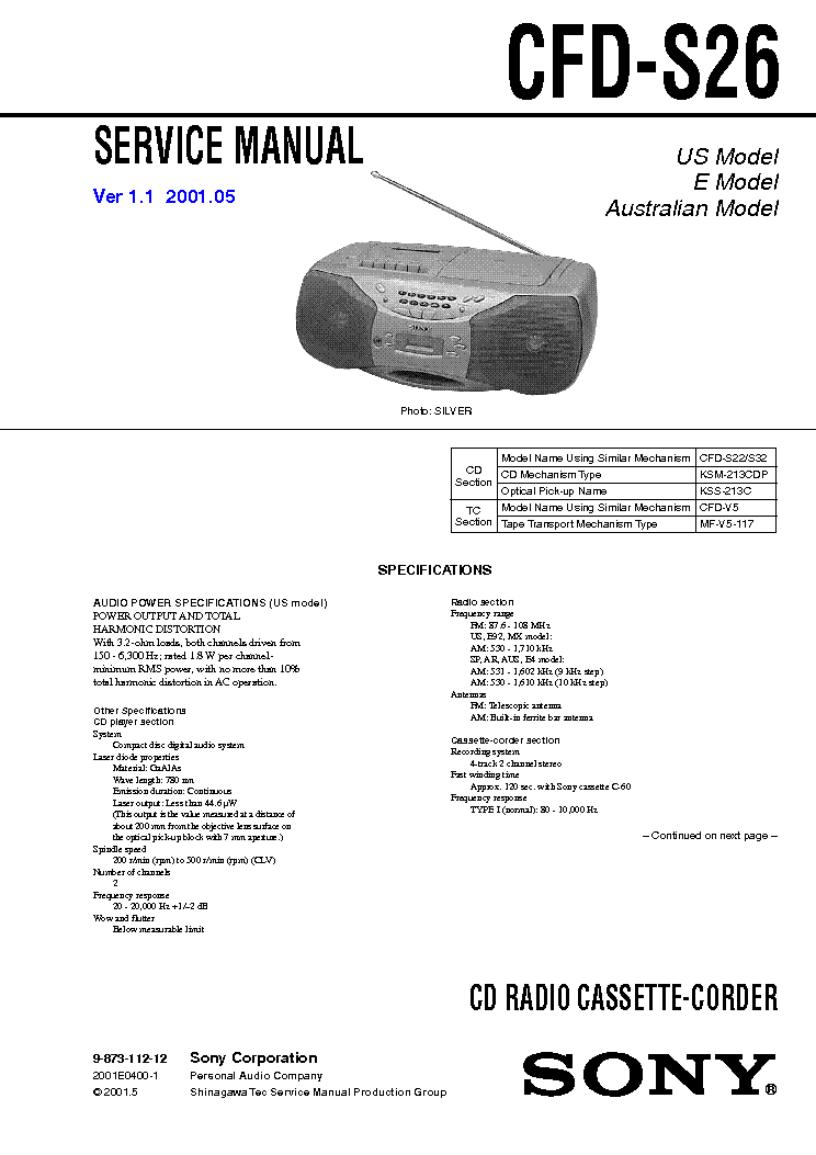 SONY CFD-S26 VER-1.1 service manual
