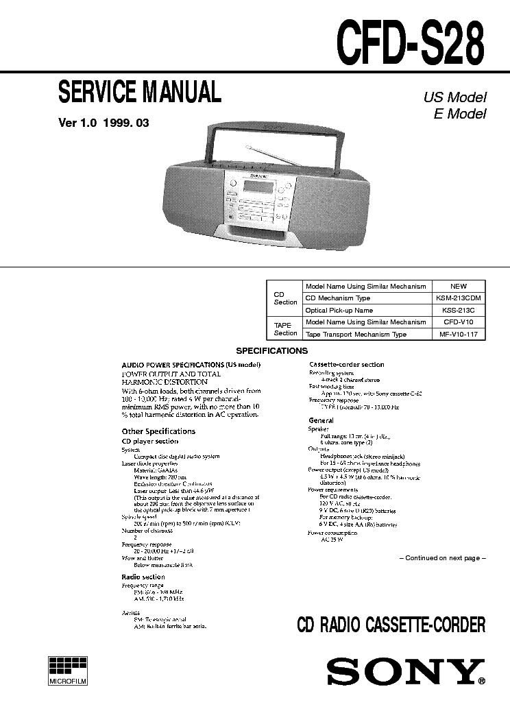SONY CFD-S28 service manual