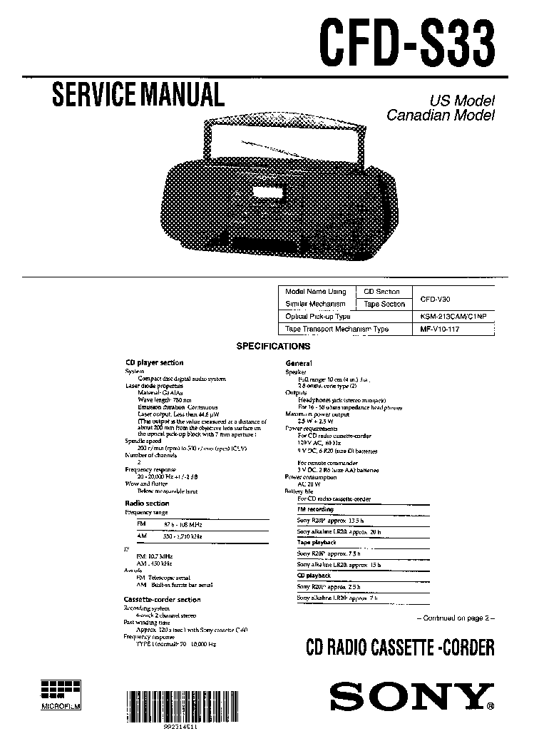 SONY CFD-S33 SM 2 service manual
