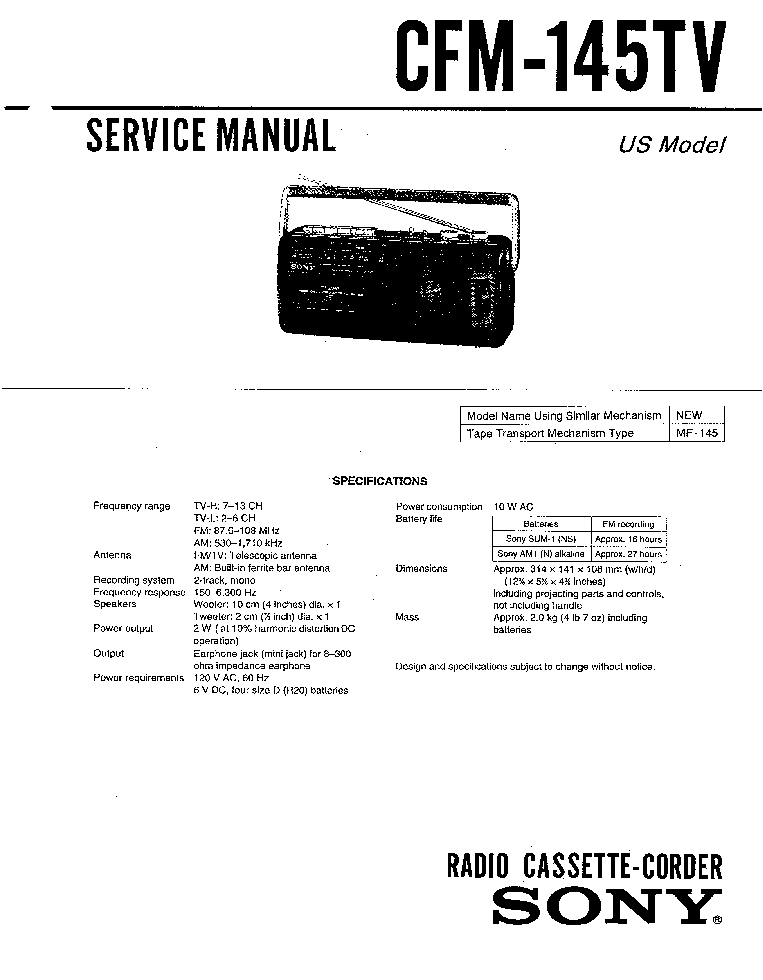 SONY CFM-145TV service manual