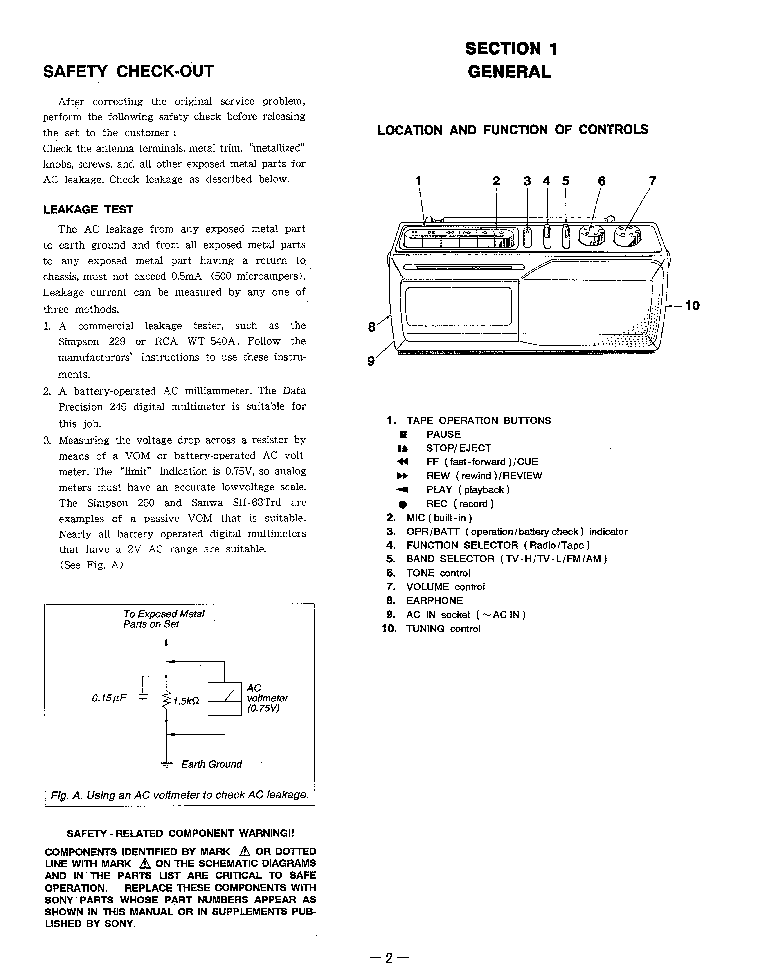 SONY CFM-145TV Service Manual download, schematics, eeprom