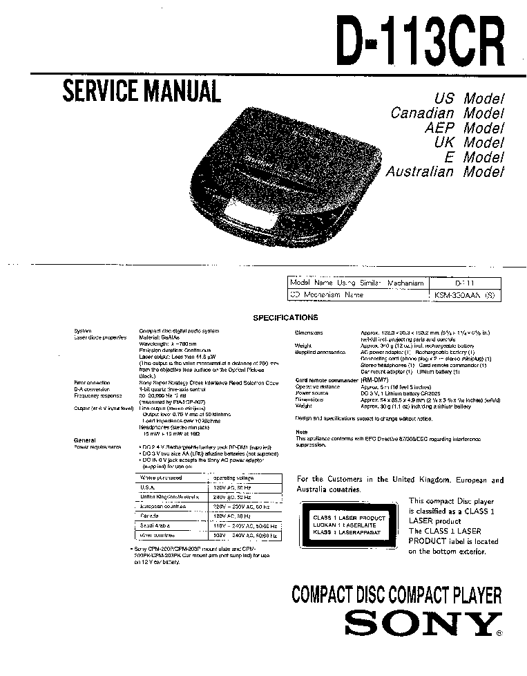 SONY D-113CR service manual