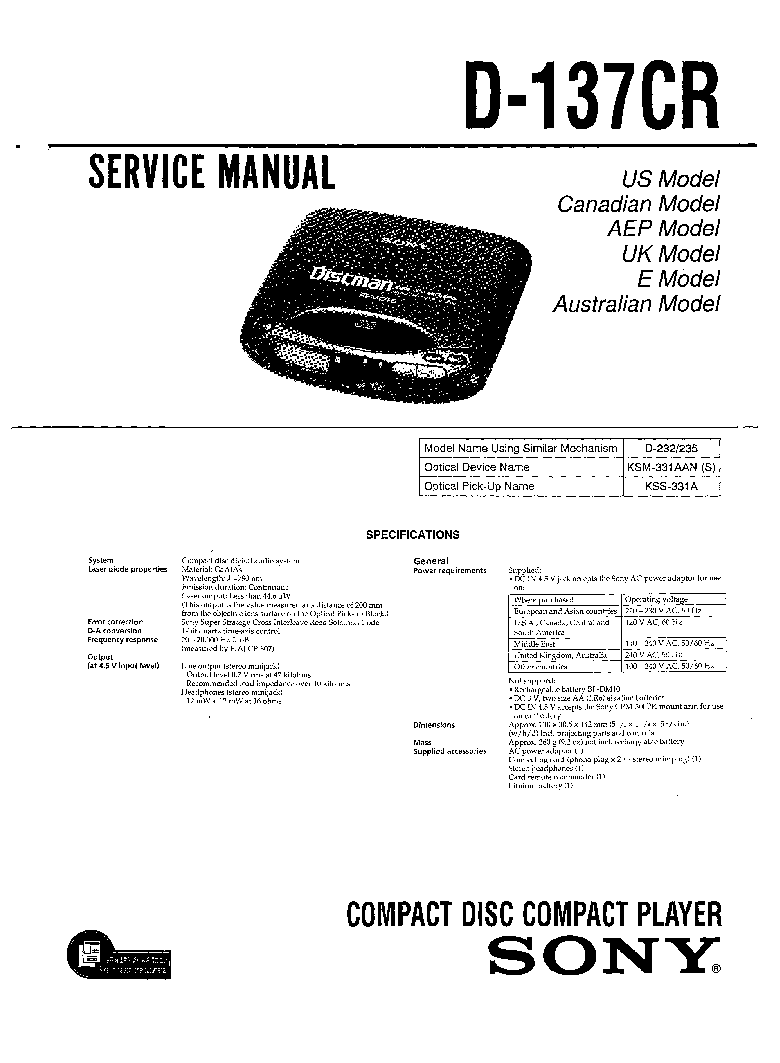 SONY D-137CR service manual
