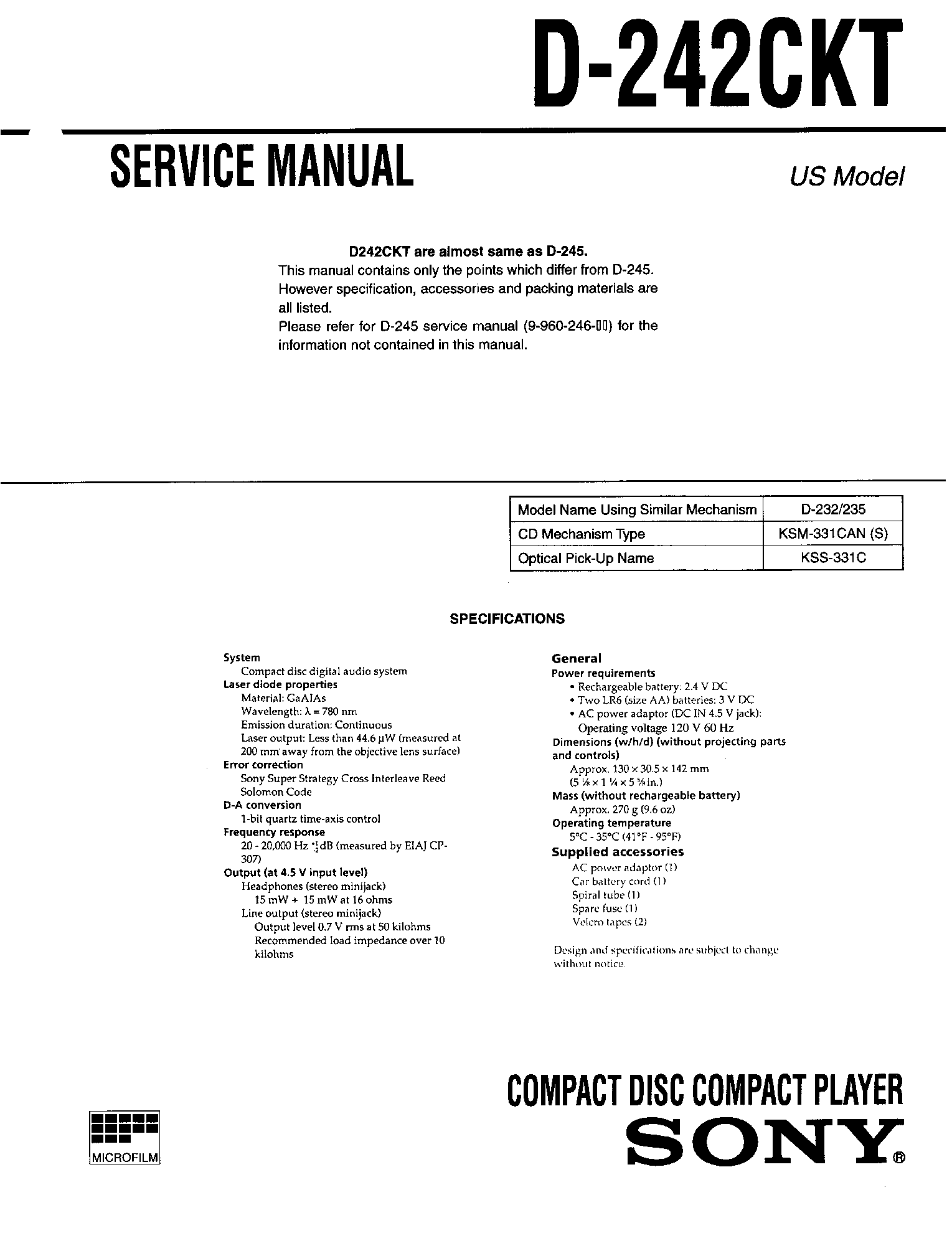 SONY D-242CKT service manual