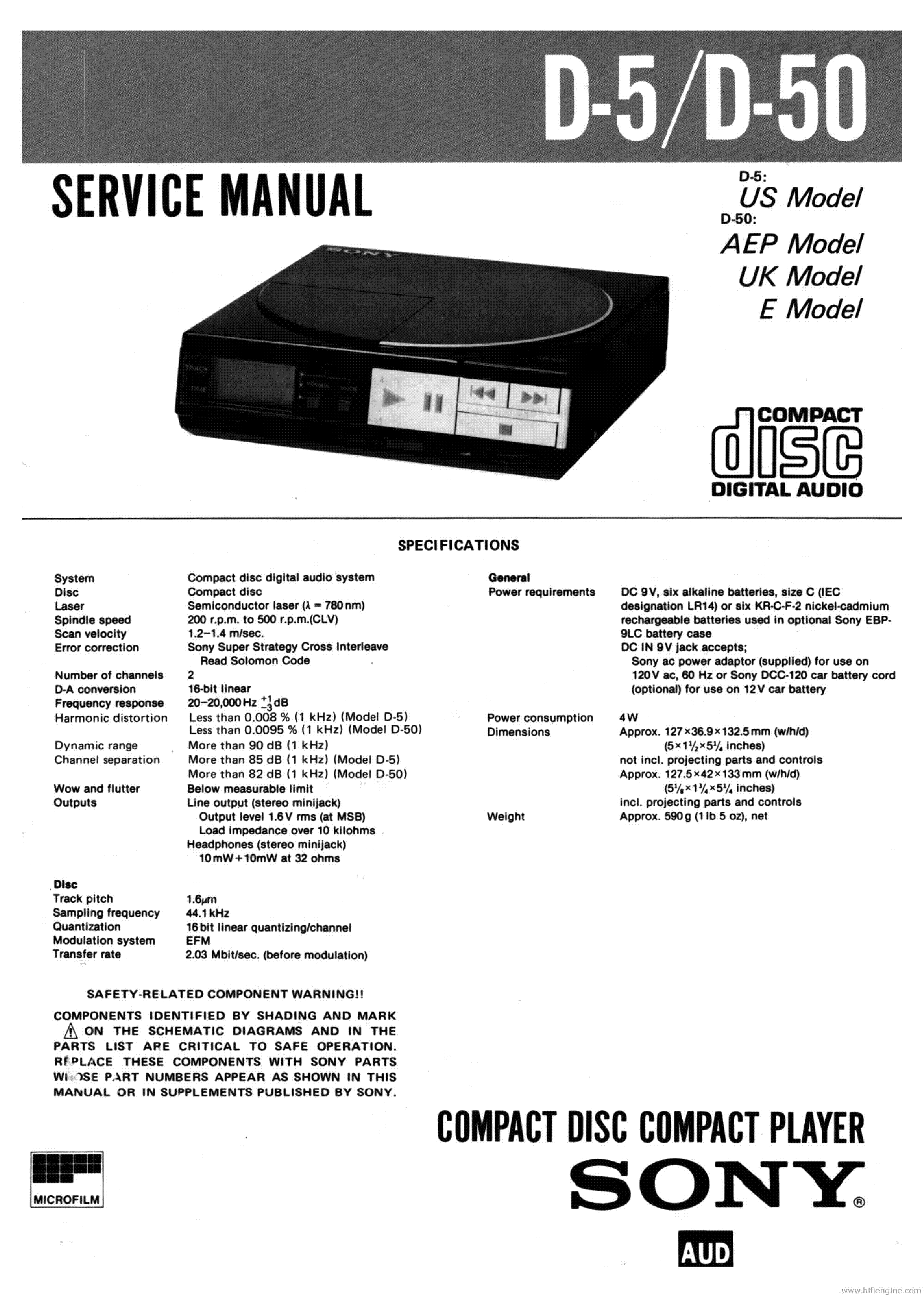 SONY D-5 D-50 CD PLAYER service manual (1st page)