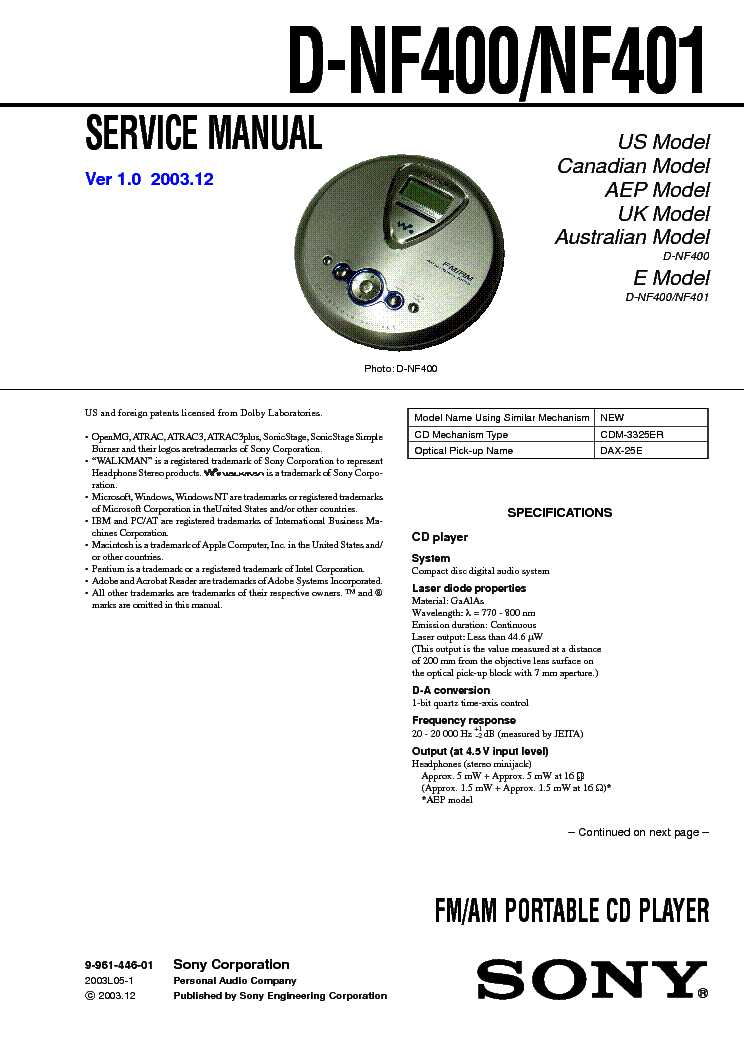 SONY D-NF400 service manual