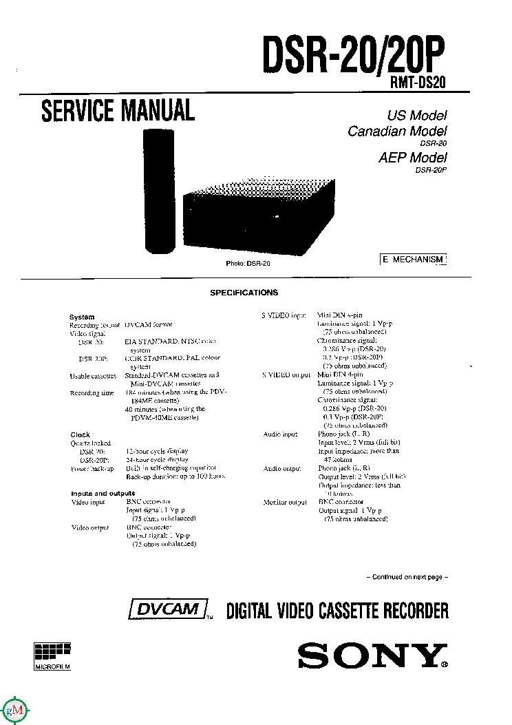 SONY DSR-20 20P SM