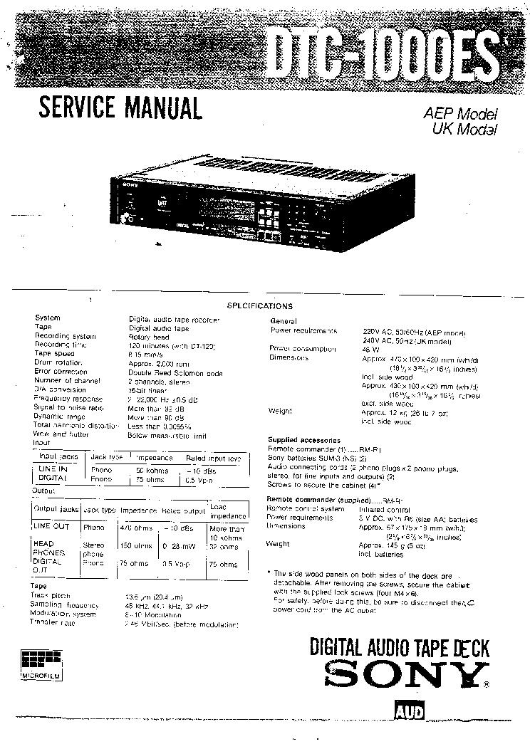 SONY DTC-1000ES SM
