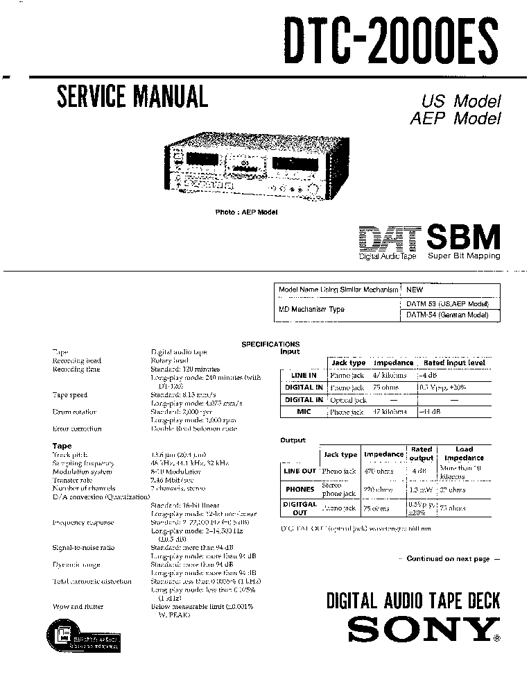 SONY DTC2000ES service manual