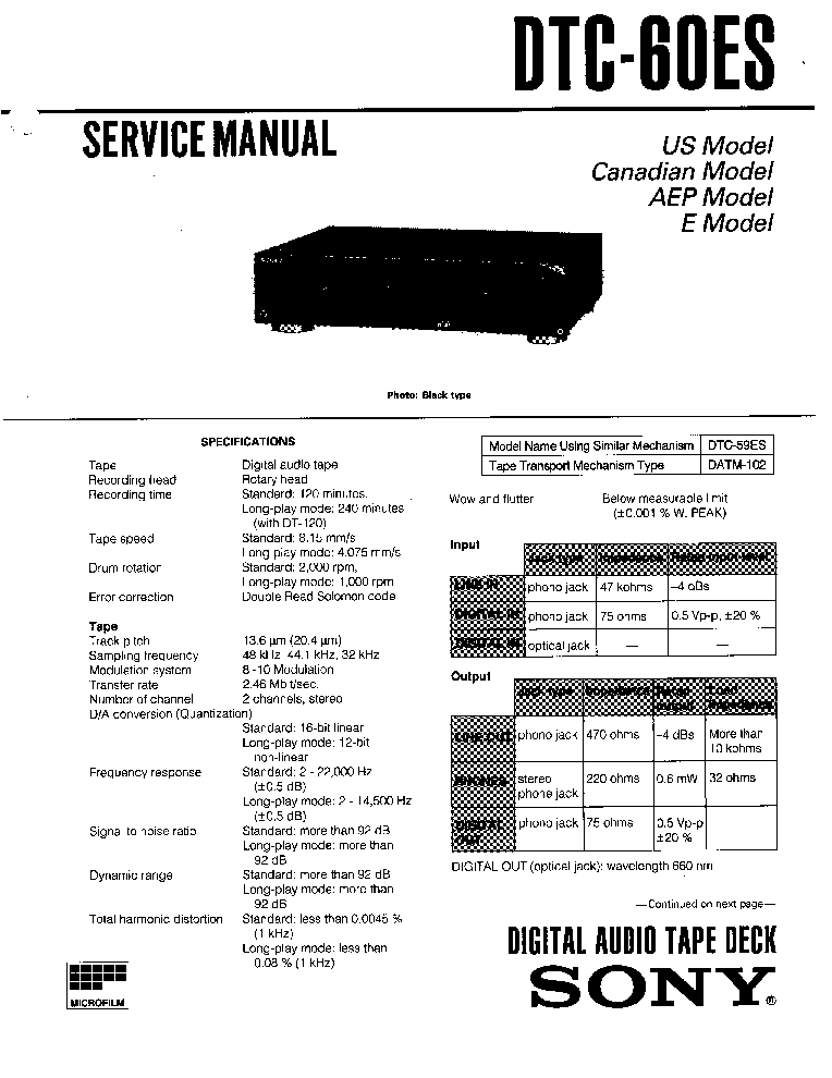SONY DTC60ES service manual