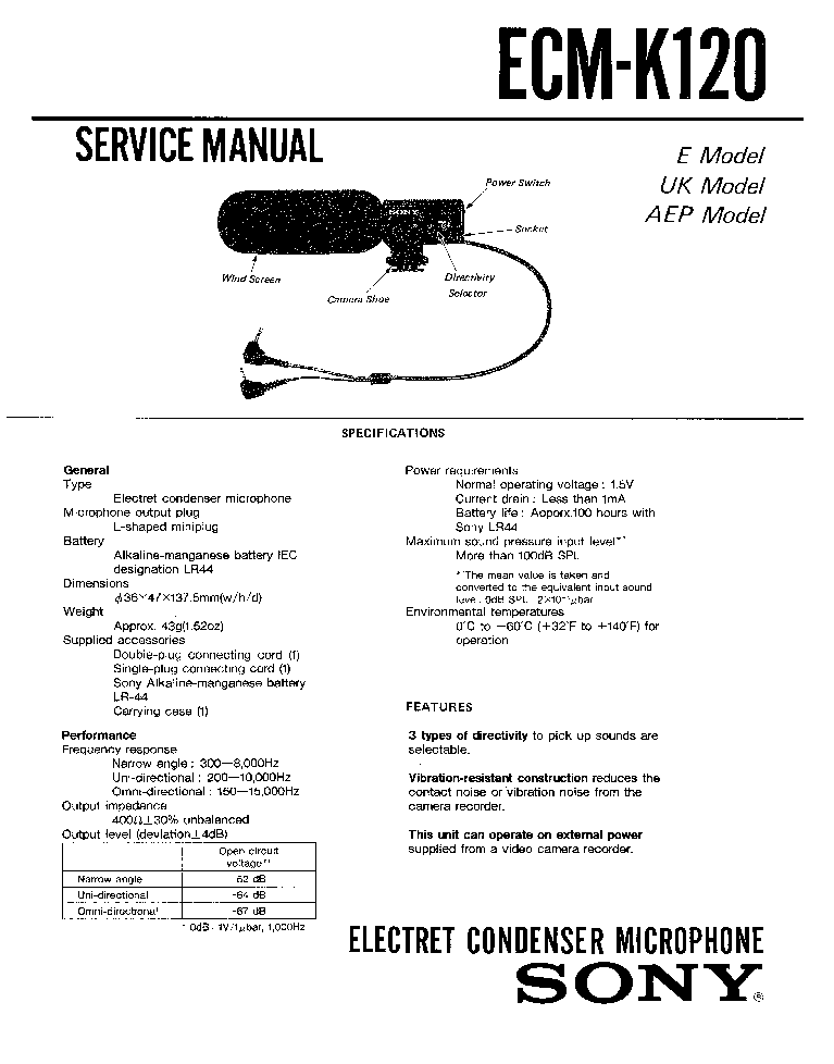 sony ecm-ms907 manual pdf