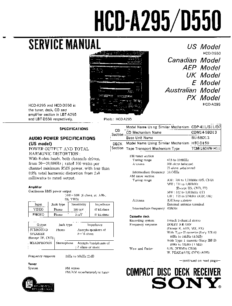 SONY HCD-A295 D550 service manual (1st page)