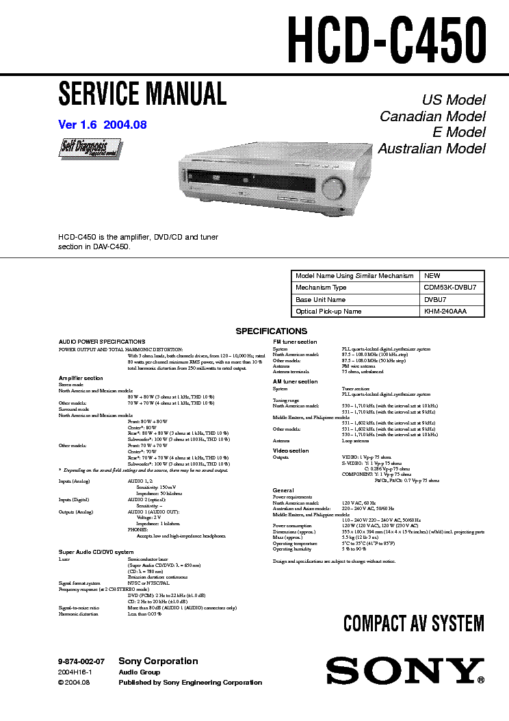 SONY HCD-C450 VER 1.6 service manual