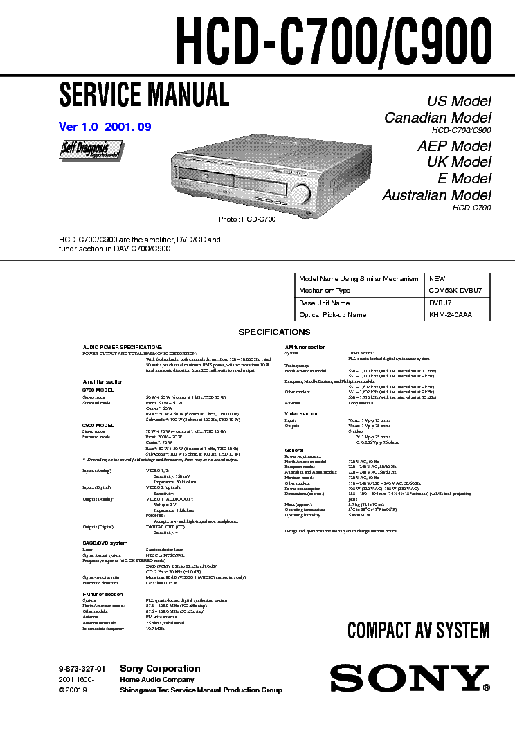 SONY HCD-C700 C900 VER1.0 service manual