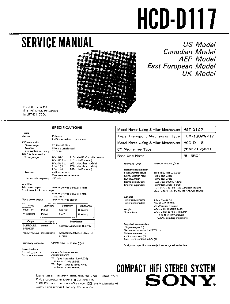 SONY HCD-D117 SM service
