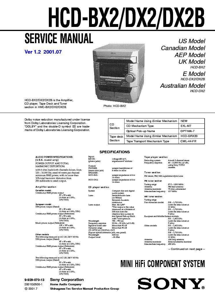 SONY HCD-DX2