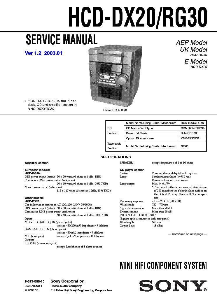 SONY HCD-DX20 RG30 VER-1.2