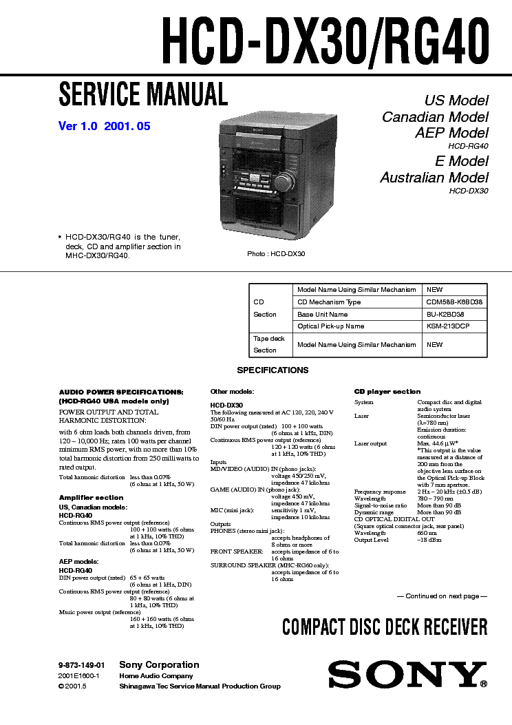 SONY HCD-DX30 RG40 VER-1.0