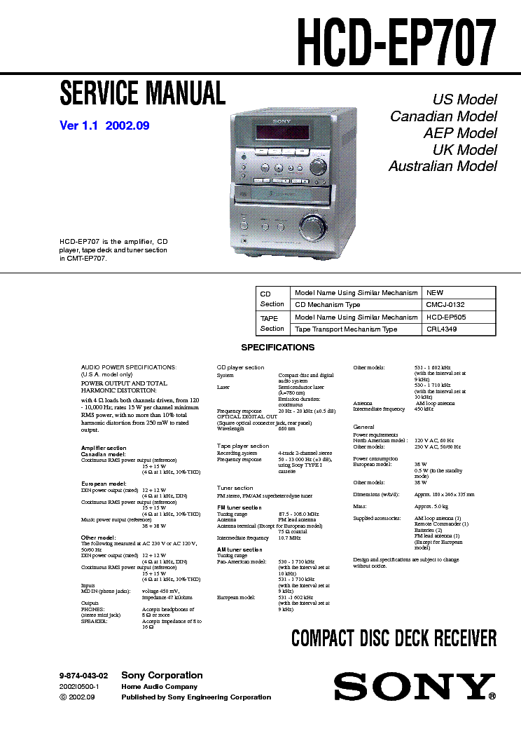 SONY HCD-EP707 VER-1.1 service manual