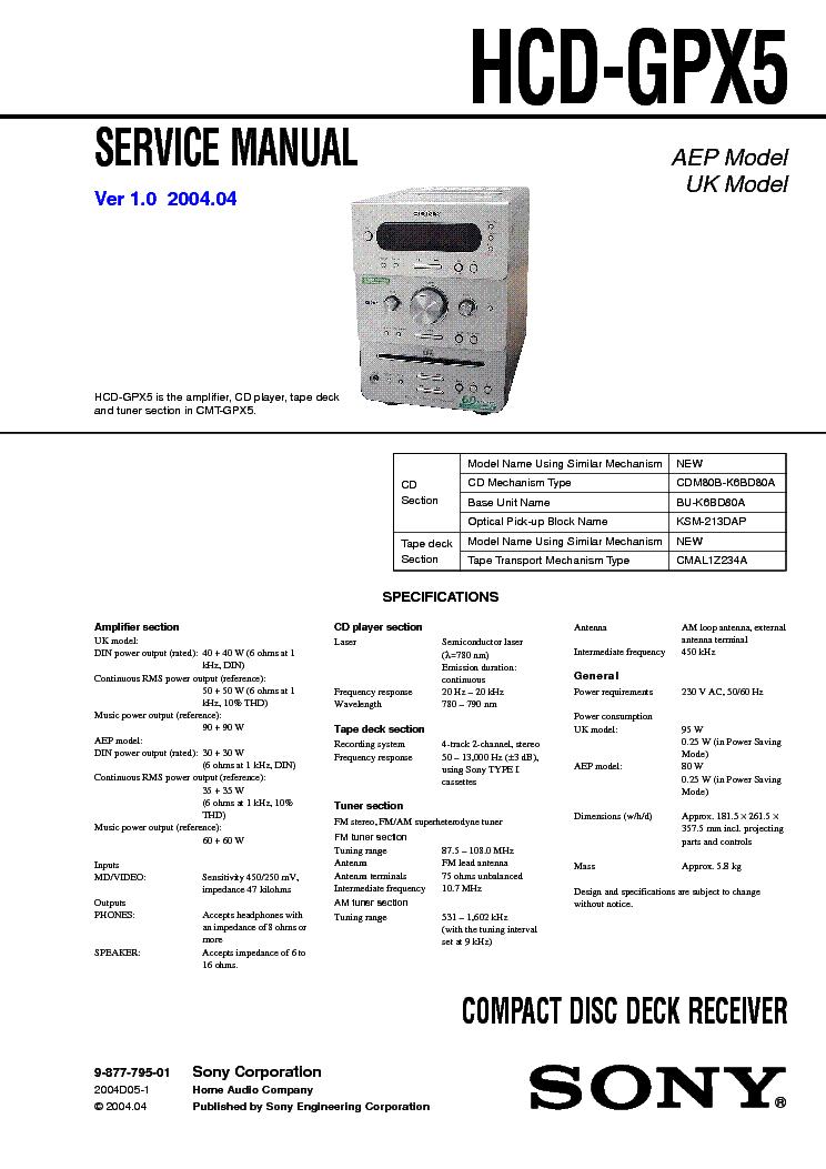 SONY CDX-U300LTD Service Manual download, schematics, eeprom, repair