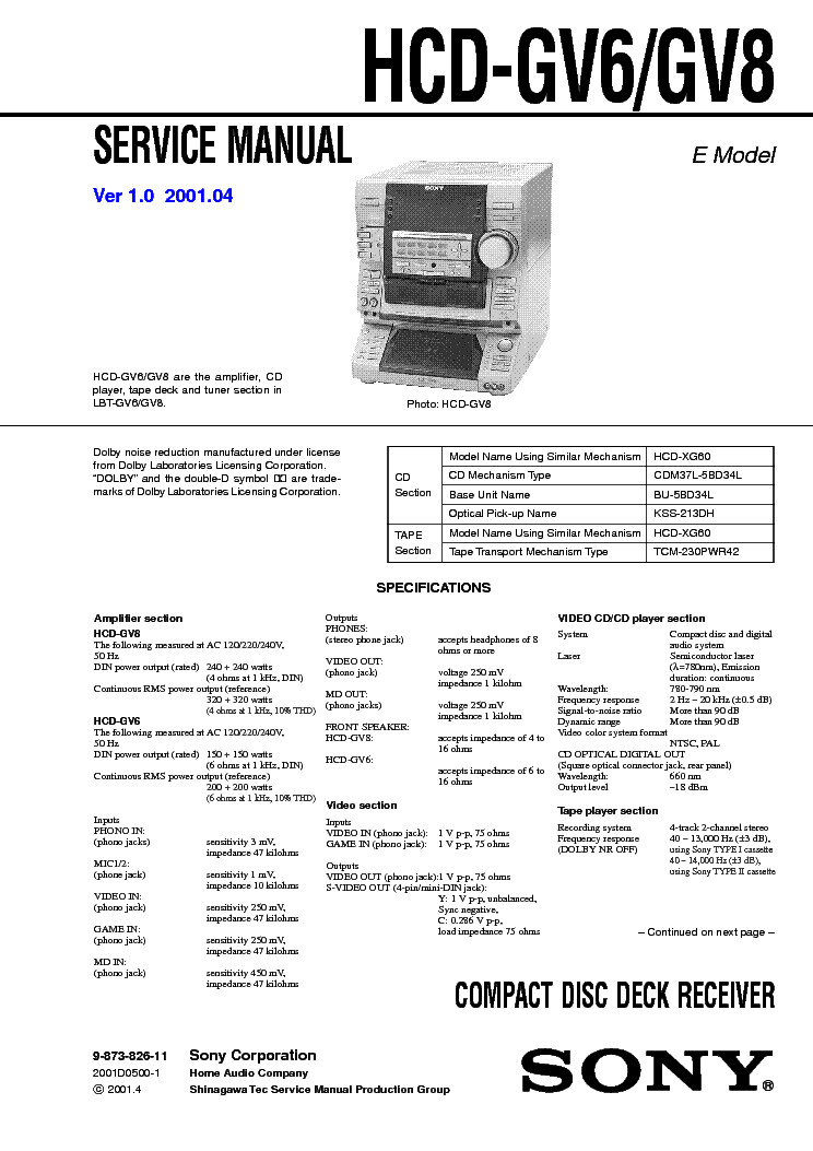 SONY HCD-GV6,GV8 service manual