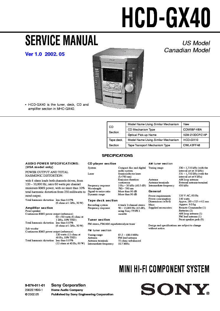 SONY HCD-GX40 VER-1.0 service manual