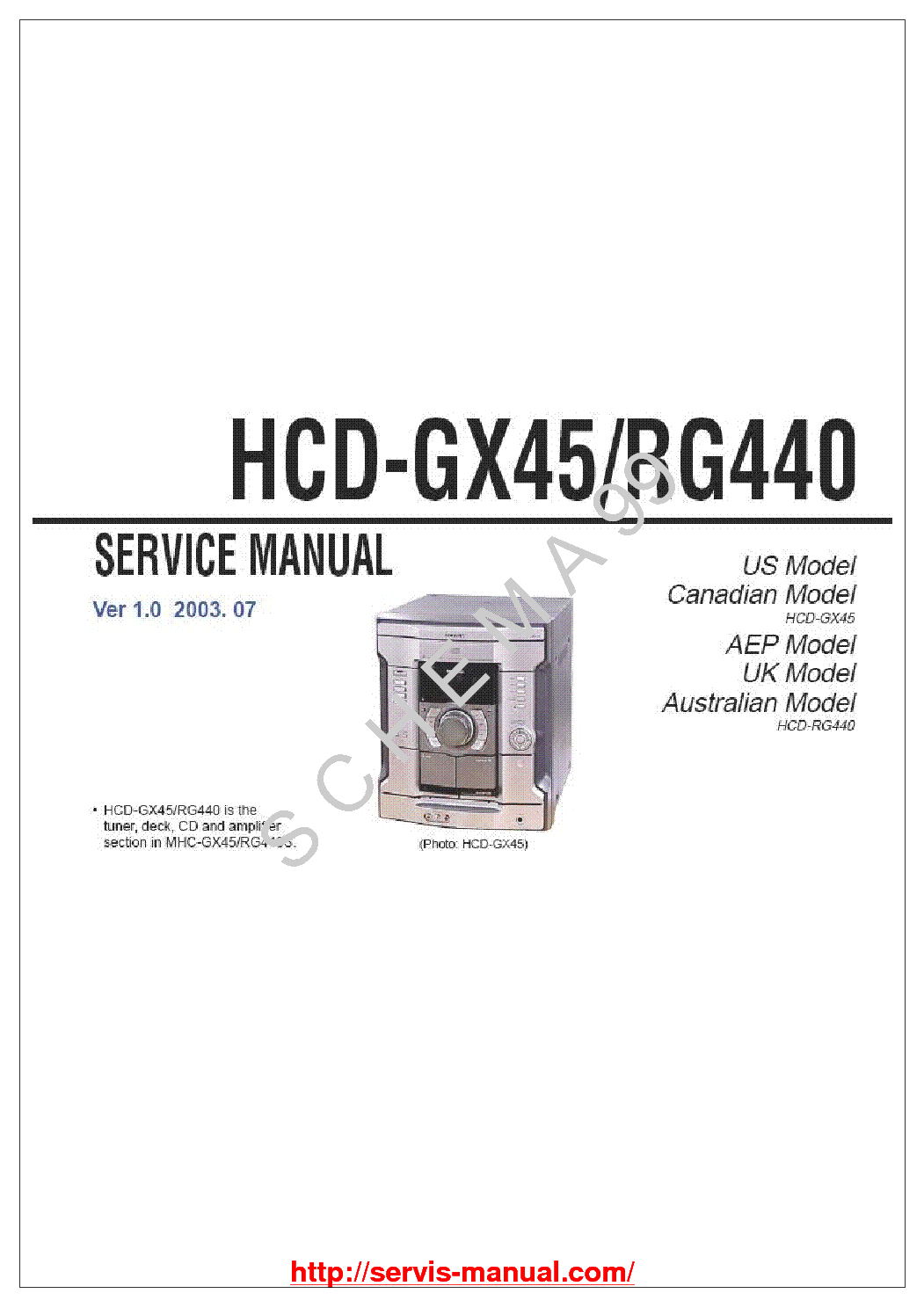 SONY HCD-GX45 RG440 VER-1.0 service manual