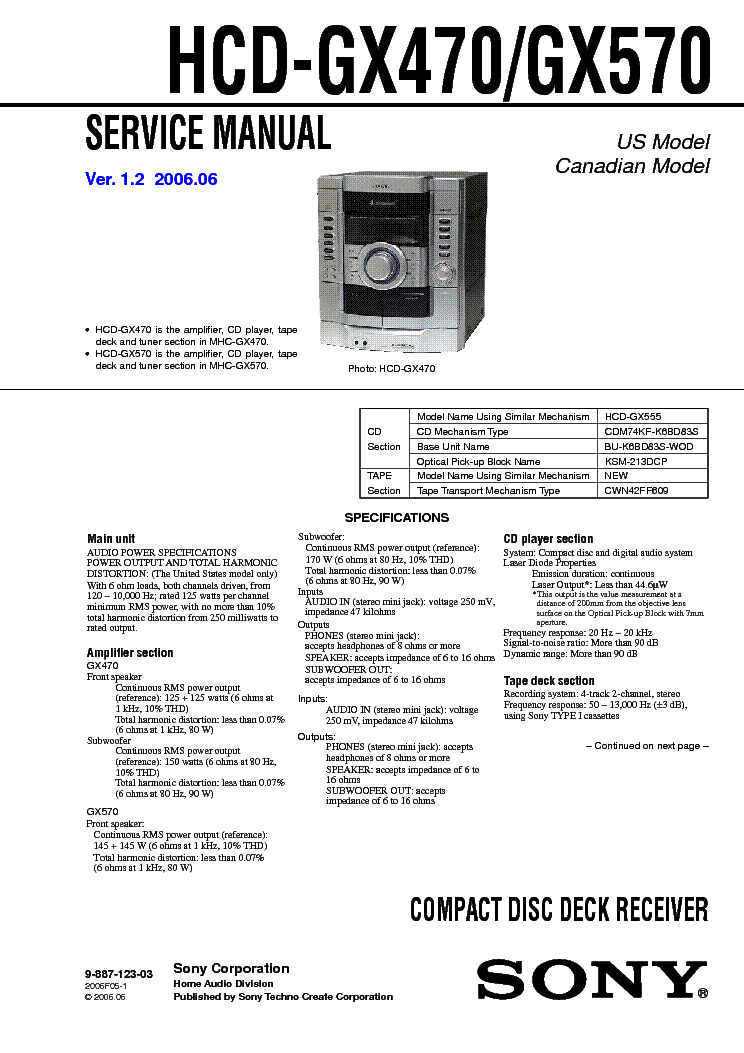 SONY HCD-GX470 GX570 VER1.2 Service Manual free download, schematics ...