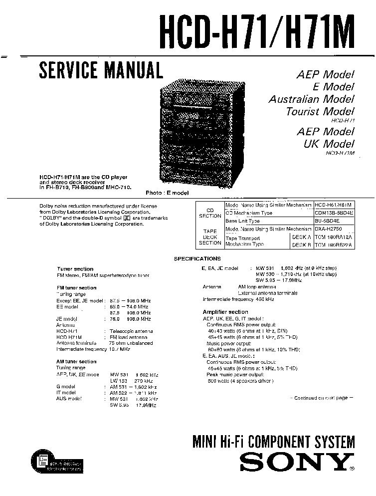 Sony fh-b900 инструкция