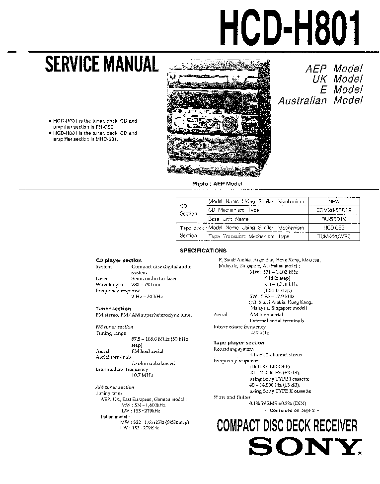 SONY HCD-H801 service manual