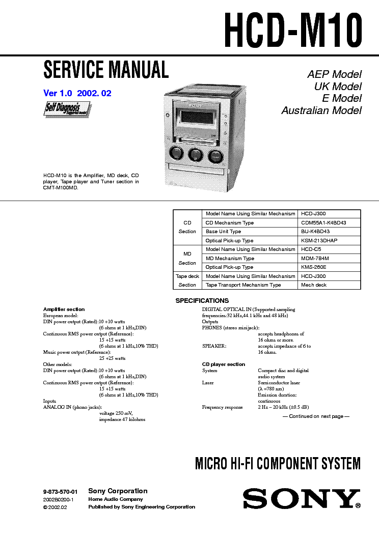 SONY HCD-M10 service manual