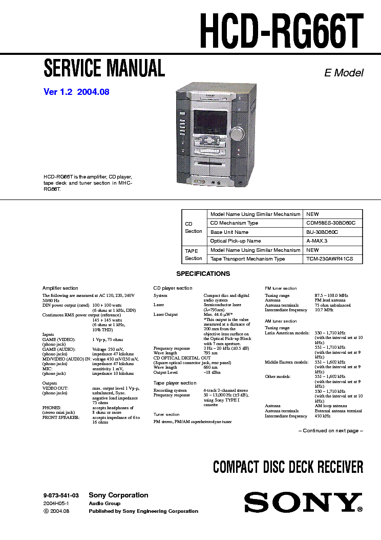 SONY HCD-RG66T VER-1.2 service manual