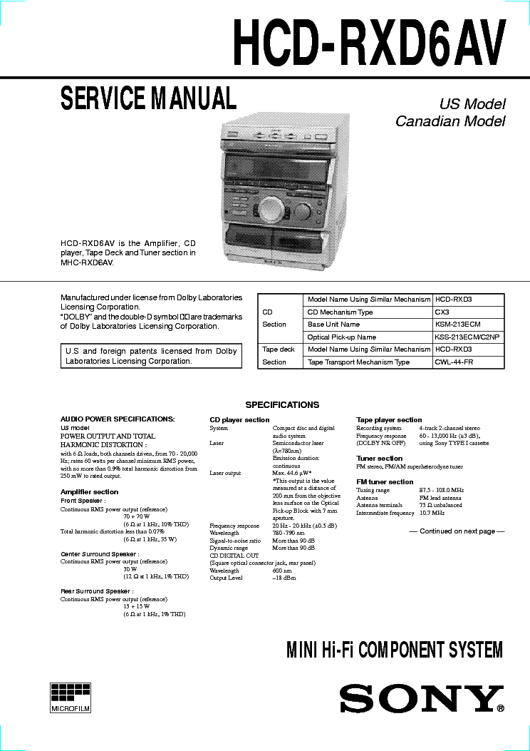 SONY HCD-RXD6AV SM service manual