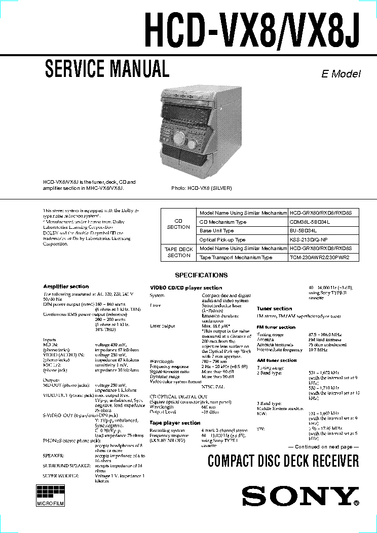 SONY HCD-VX8 J SM service manual