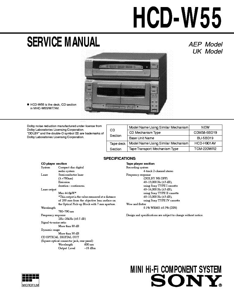 Sony W55 Музыкальный Центр Инструкция