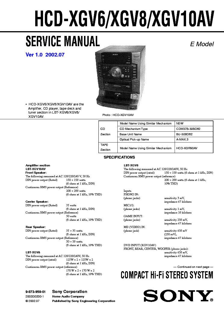 SONY HCD-XGV6 XGV8 XGV10AV