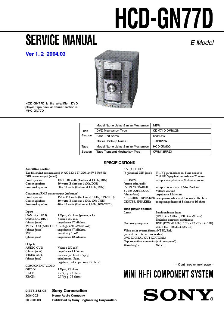 SONY HCD GN77D VER-1.2 SM
