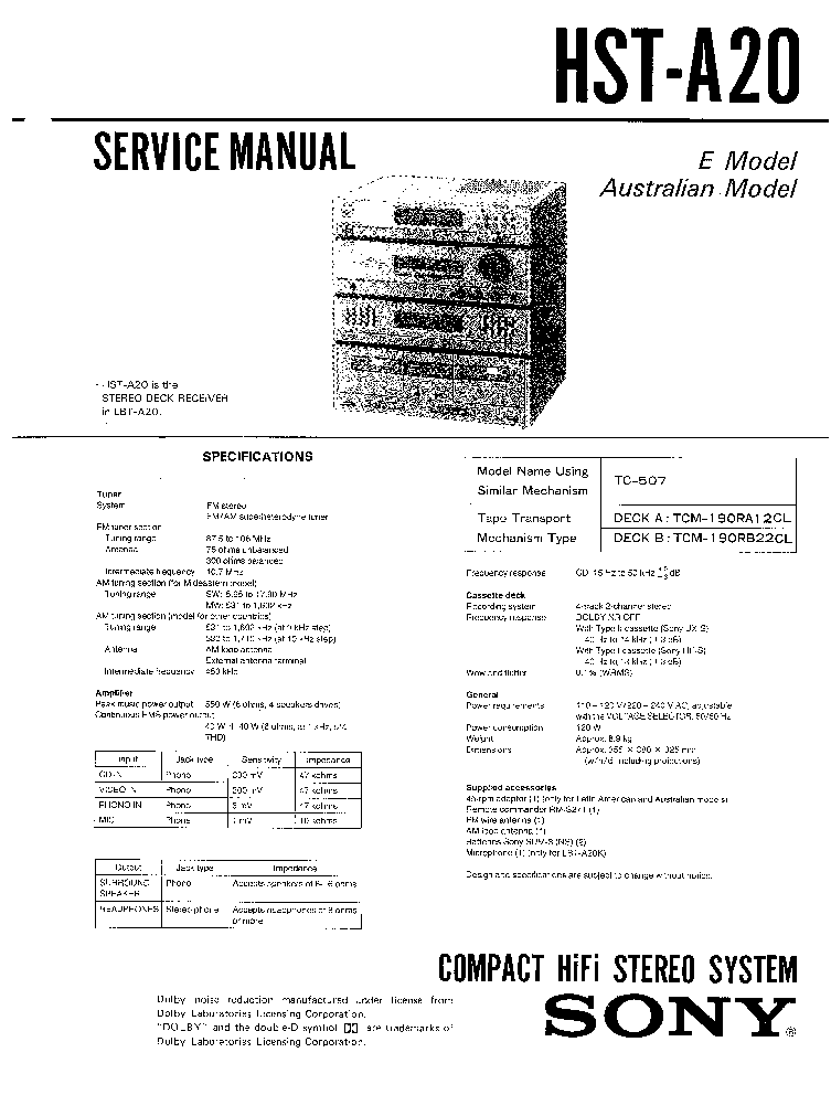 SONY HOME-RECEIVER-HST-A20 service manual