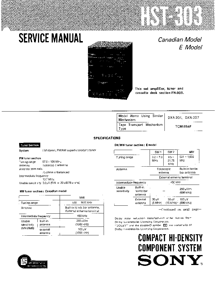 SONY HST-303 FH-303 SM service manual
