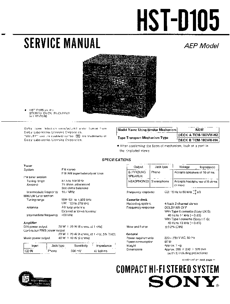 SONY HST-D105 LBT-D105 D105CD SM service manual