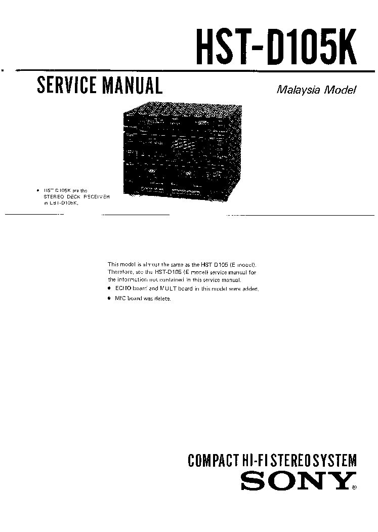 Sony D 311 Service Manual Free Download Schematics