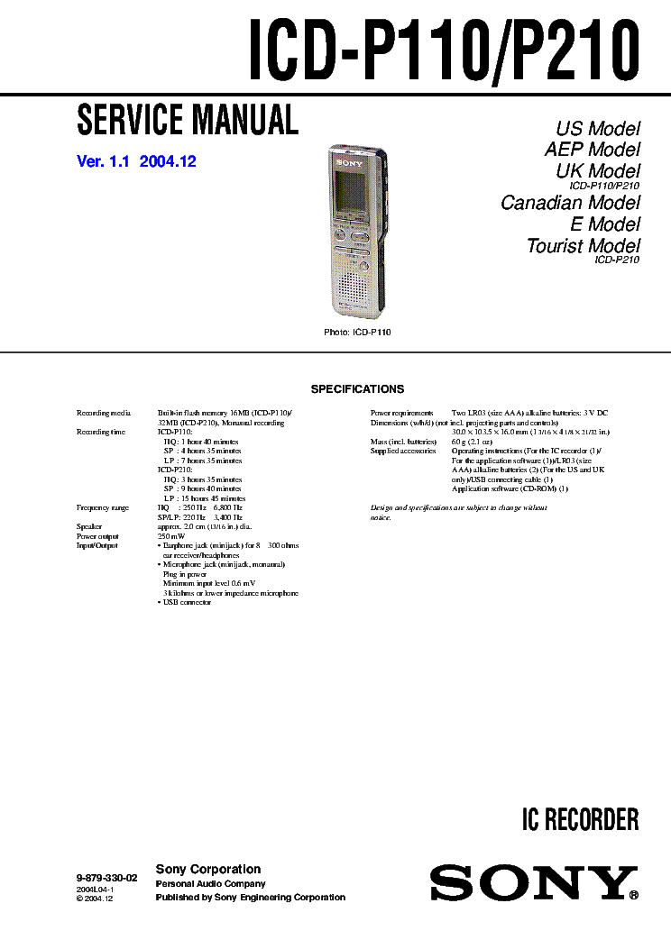 NEW DRIVERS: SONY IC RECORDER ICD-P110