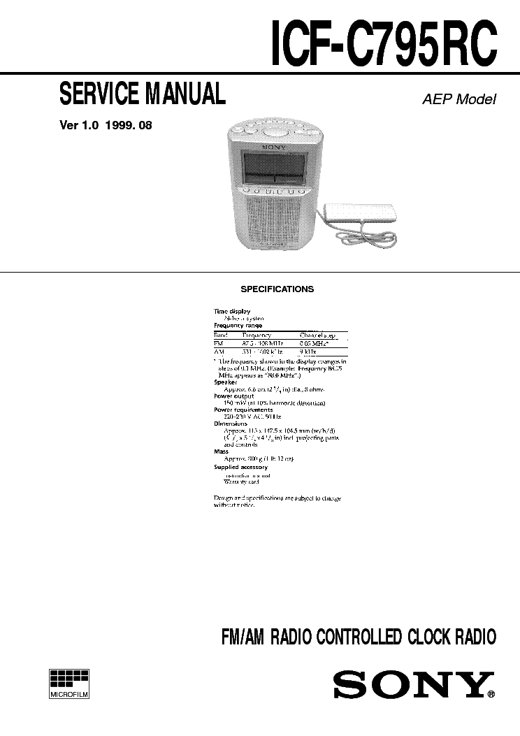 SONY ICF-C795RC VER1.0 service manual