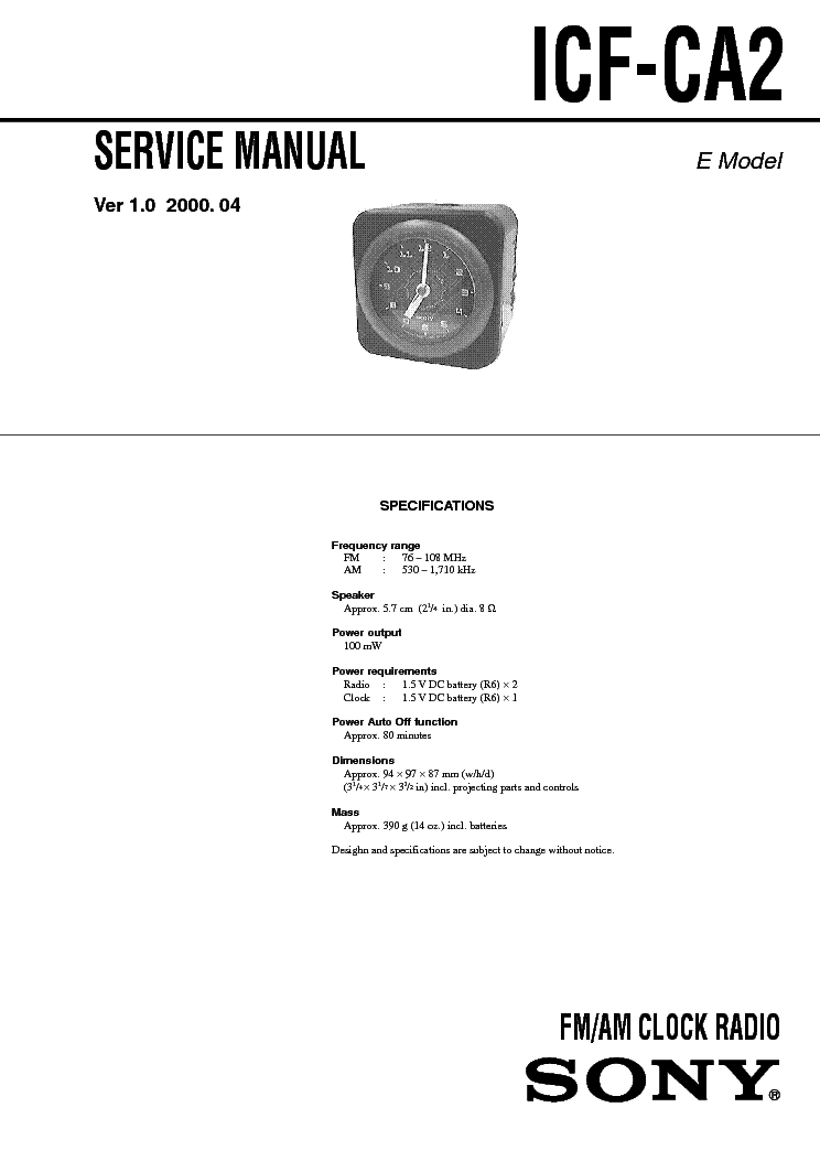 SONY ICF-CA2 VER-1.0 SM service manual