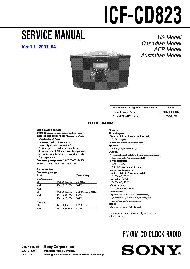 SONY ICF-CD823 VER1.1 service manual