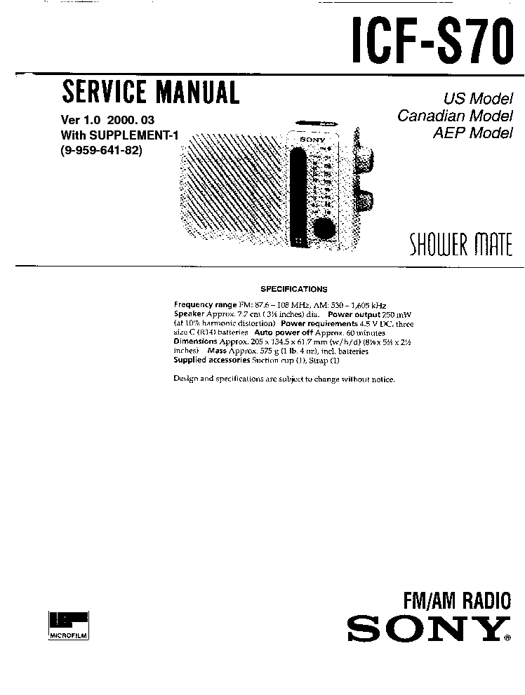 SONY ICF-S70 SM service manual