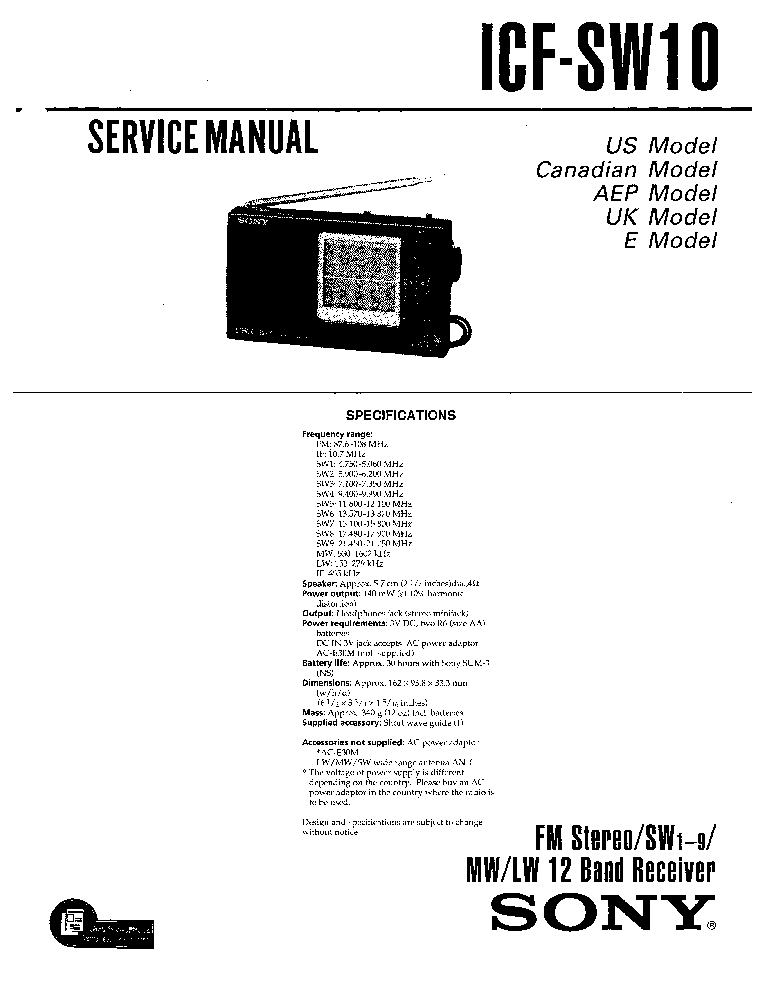 SONY ICF-SW10 service manual (1st page)
